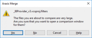 The files you are about to compare are very large. Are you sure that you want to open a comparison window for them?